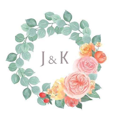 Mão de aquarela floral pintada com borda de quadro de grinaldas de texto, exuberante flores aquarelle isolado no fundo branco. Design flores decoração para cartão, salvar a data, cartões de convite de casamento, cartaz, banner design. vetor