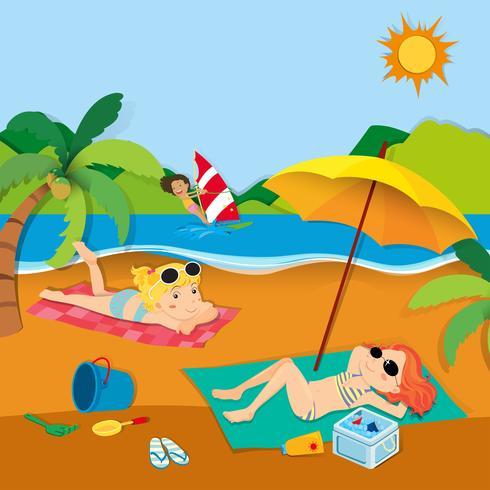 Férias de verão com as pessoas na praia vetor