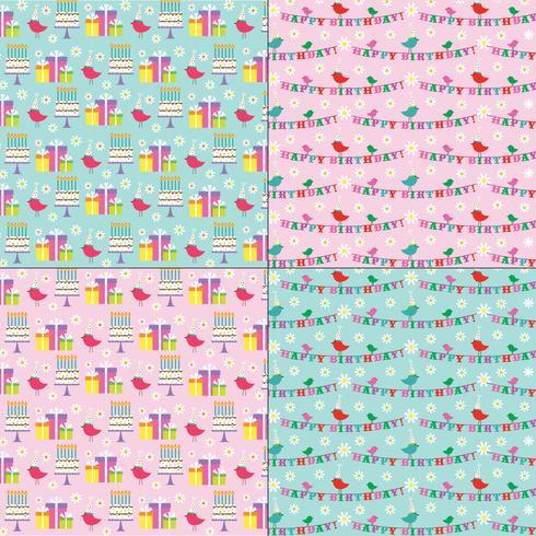 padrões de aniversário-de-rosa e azuis com pássaros bonitos vetor