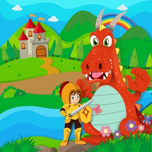Cavaleiro e dragão pelo rio vetor