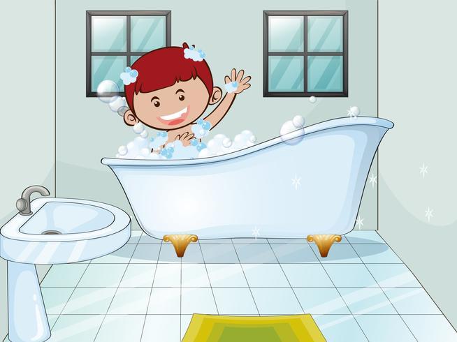 Menino tomando banho de espuma sozinho vetor