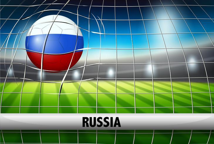 Uma bola de futebol russa no gol vetor