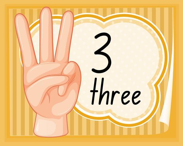 Conte, três, com, gesto mão vetor