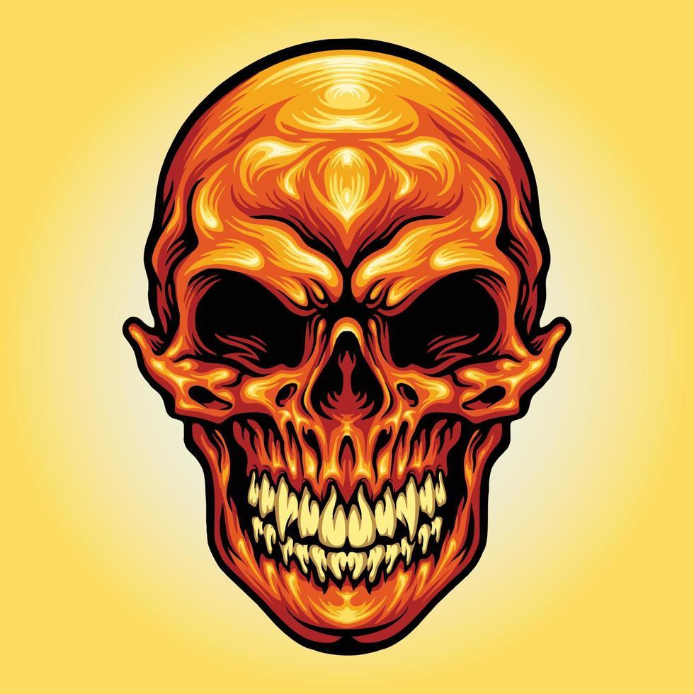 ilustrações do esqueleto da cabeça do crânio vetor