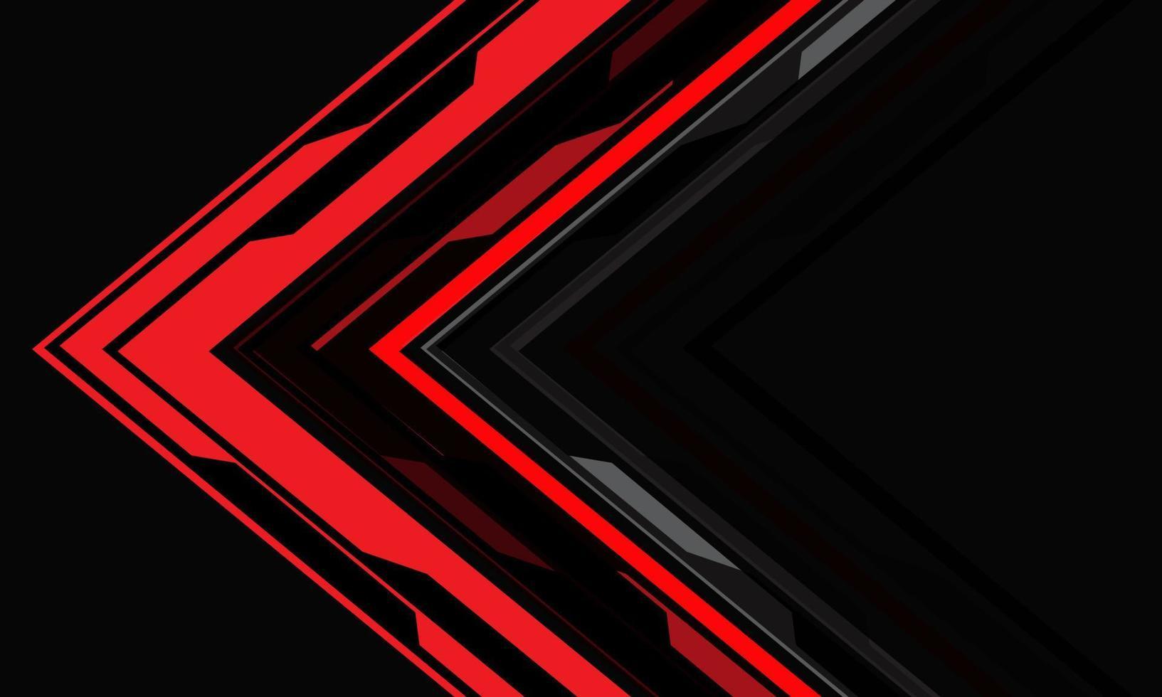 direção da seta cibernética vermelha abstrata geométrica em cinza com espaço em branco design de tecnologia moderna futurista de fundo vector