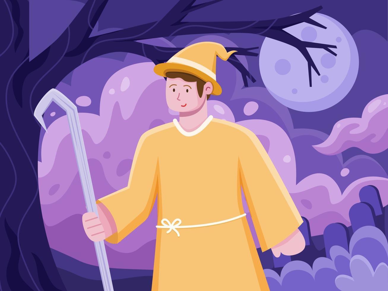 ilustração plana de pessoas que celebra o dia das bruxas usa uma fantasia de bruxa. festa divertida da celebração do dia das bruxas. ilustração do personagem de halloween. pode ser usado para cartão de felicitações, convite, cartão postal, pôster. vetor