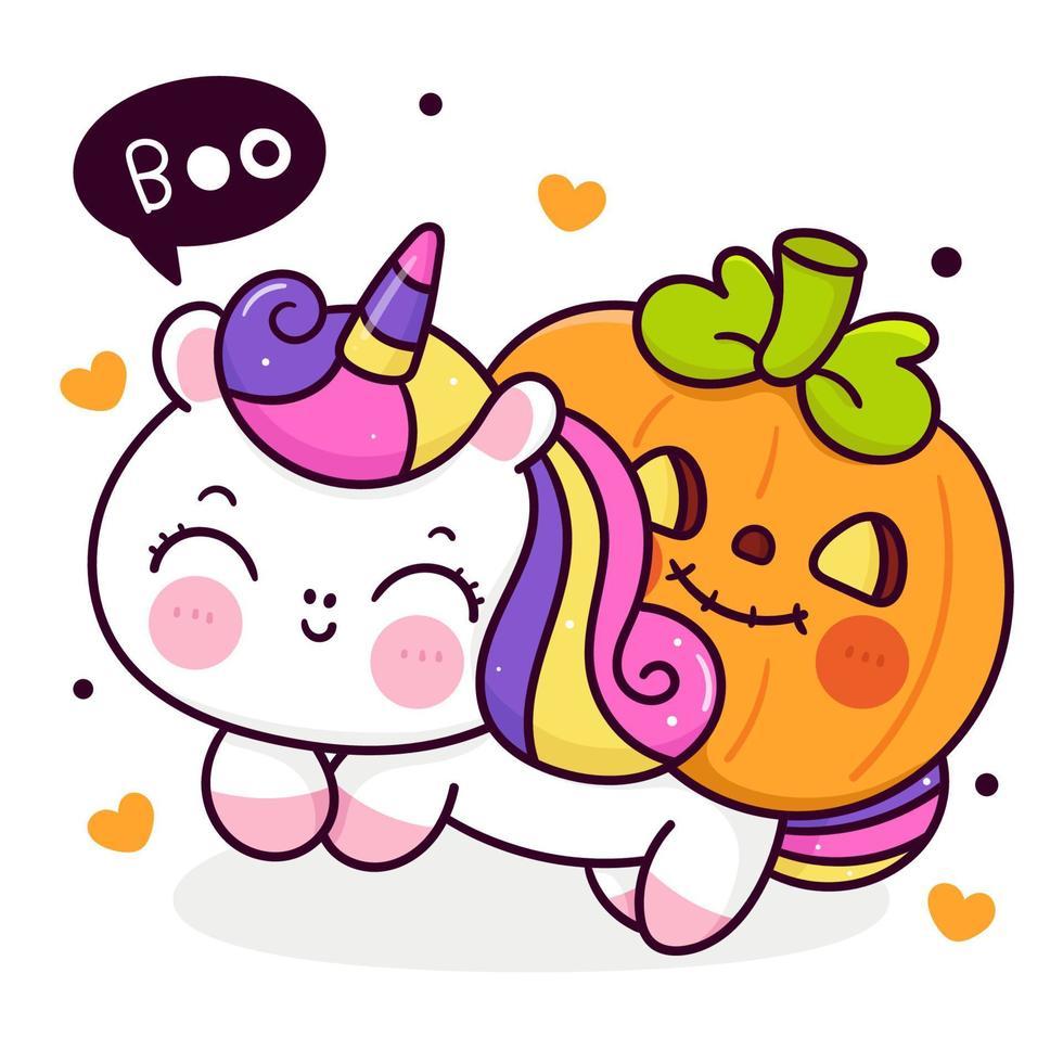 Desenho de unicórnio fofo com abóbora halloween bebê truque ou travessura infantil animal vetor kawaii