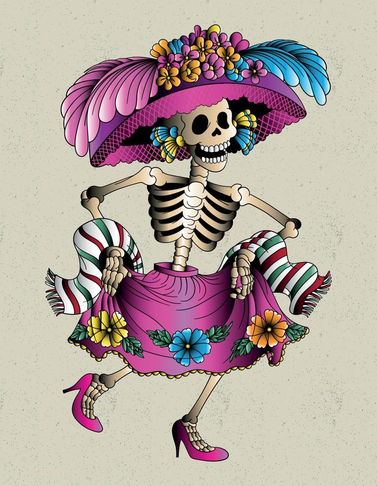 caveira mexicana catrina vetor