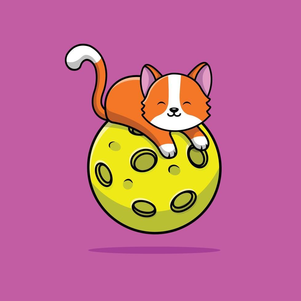 gato fofo deitado no planeta vetor