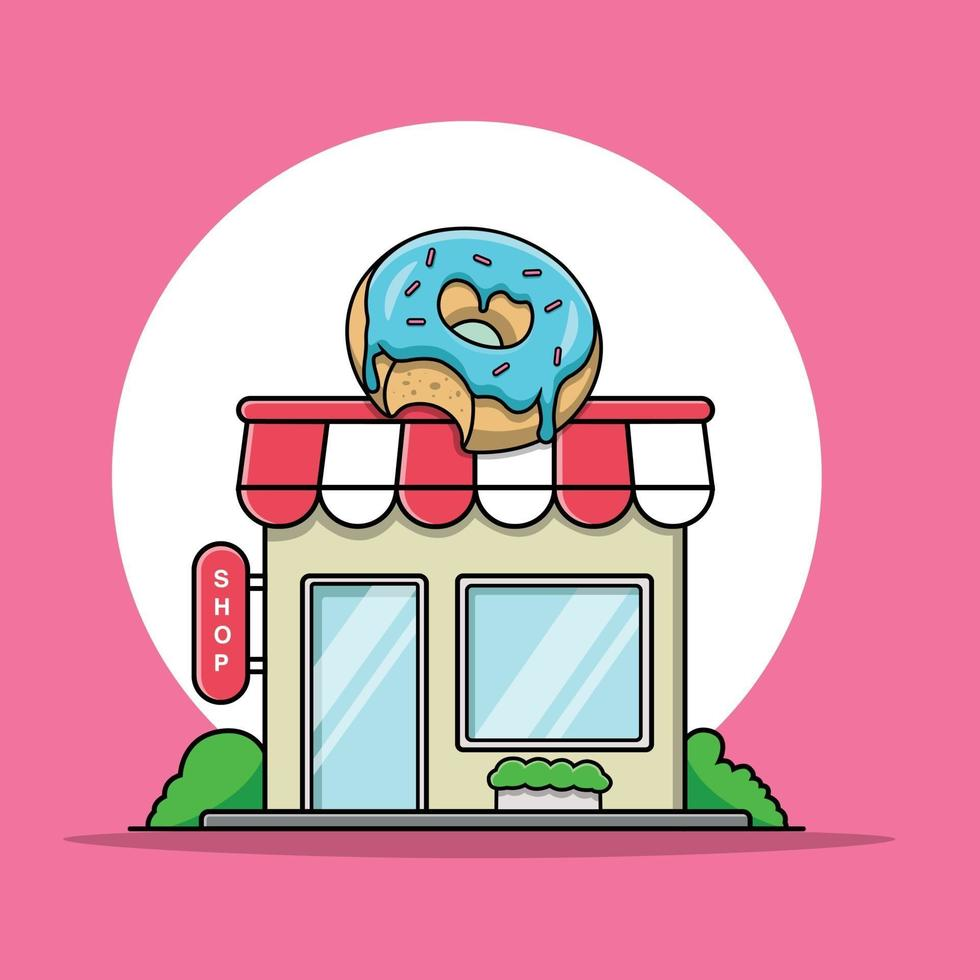 ilustração da loja de donuts vetor