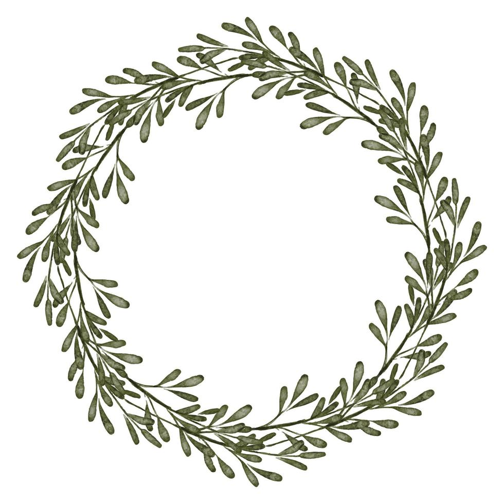 aquarela folha verde círculo floral borda coroa vetor