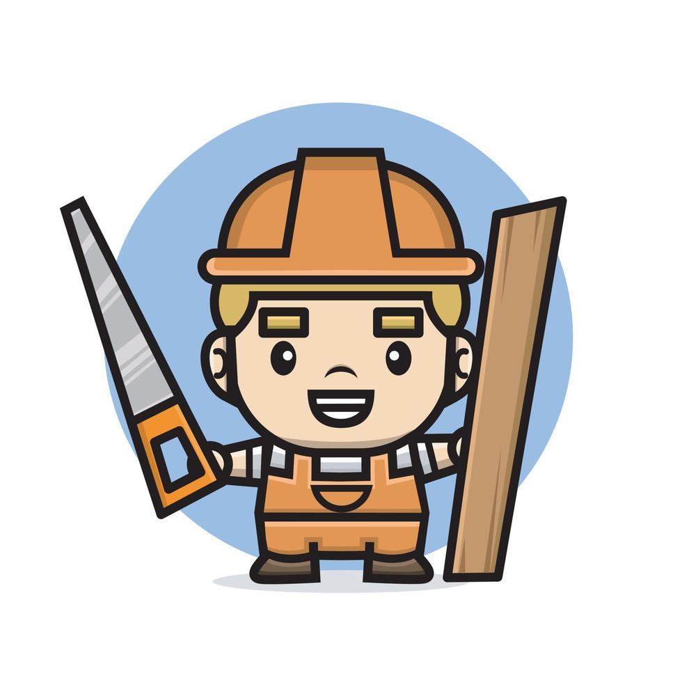 Construtor de personagens fofinhos homem segurando uma serra e uma placa de madeira vetor