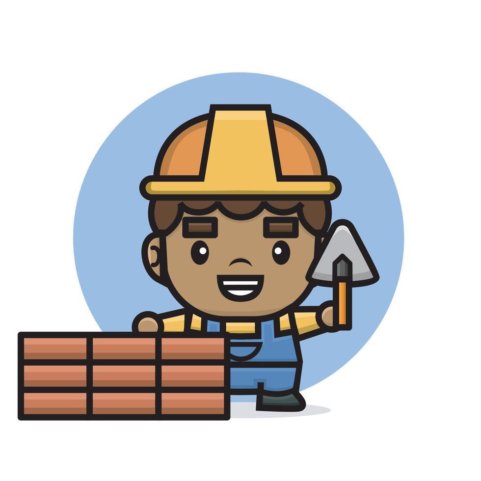 homem construtor de personagens fofinhos construindo uma parede de tijolos com espátula vetor