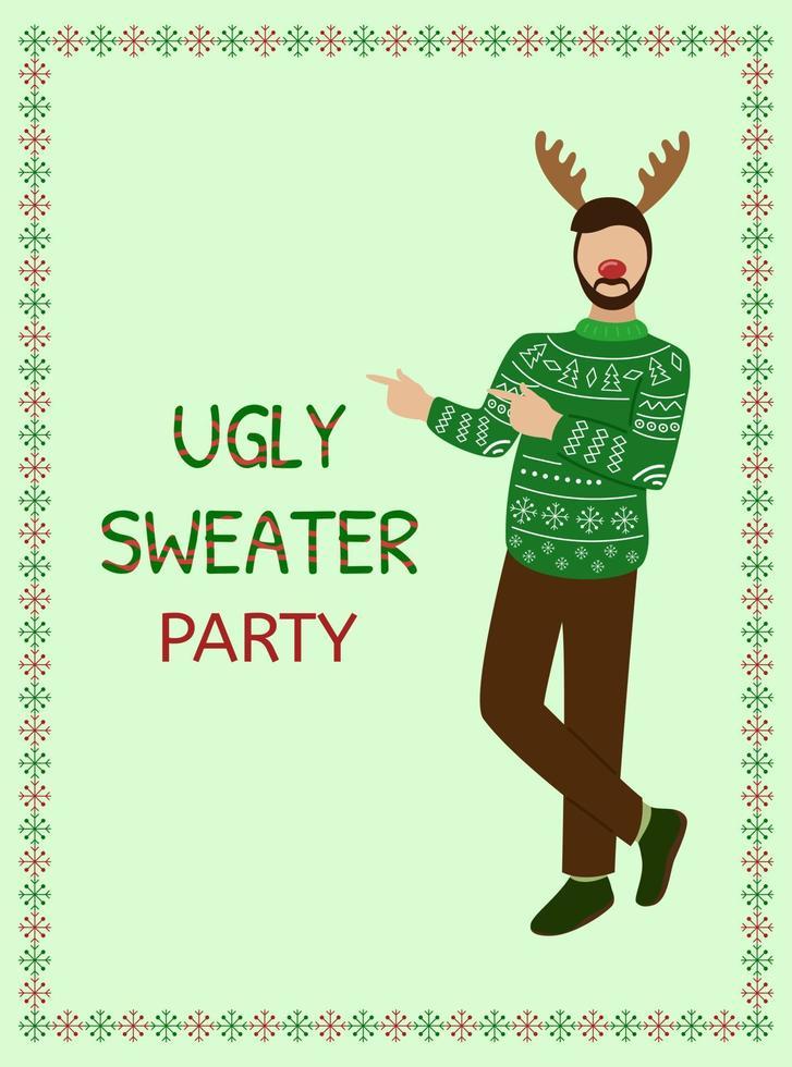 festa de camisola feia. conceito de natal. homem feliz com roupas de suéter. ilustração do convite do vetor