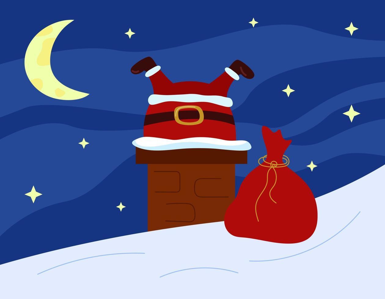 Papai Noel preso na chaminé no telhado. cartão do humor engraçado do Natal. céu estrelado e lua como pano de fundo. ilustração vetorial vetor