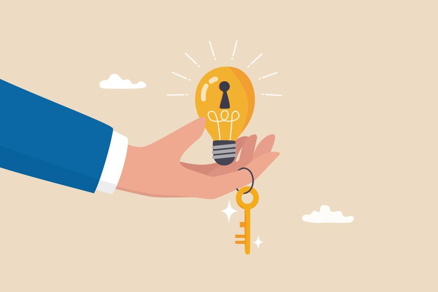 chave para o sucesso, ideia de criatividade para resolver o problema, inovação ou conhecimento para desbloquear o conceito de potencial de carreira, mão do empresário dando ideia de lâmpada brilhante com fechadura e chave de ouro para desbloqueá-la. vetor