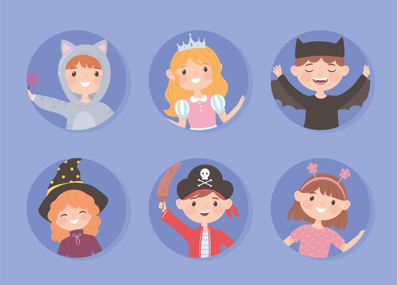 crianças felizes em fantasias vetor