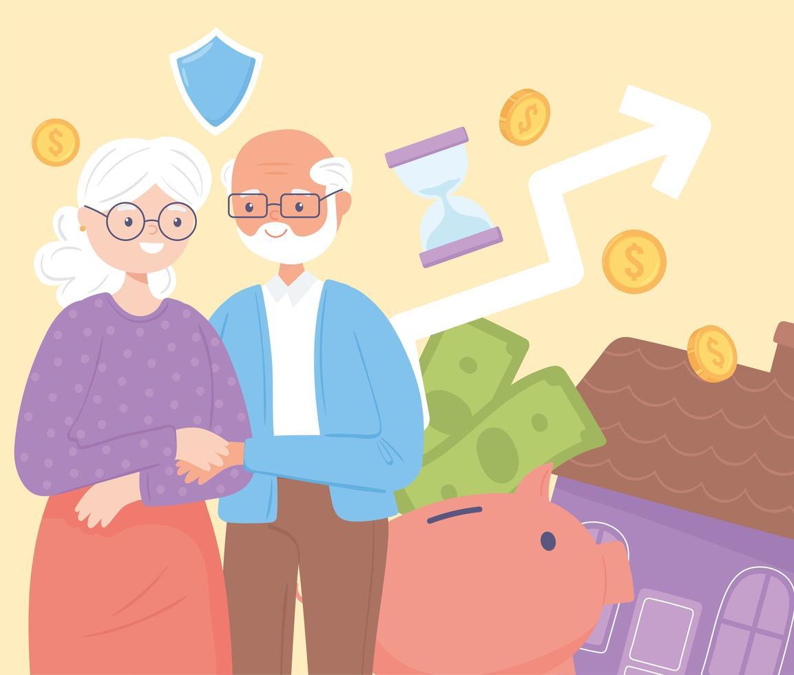 plano de aposentadoria e velho casal vetor
