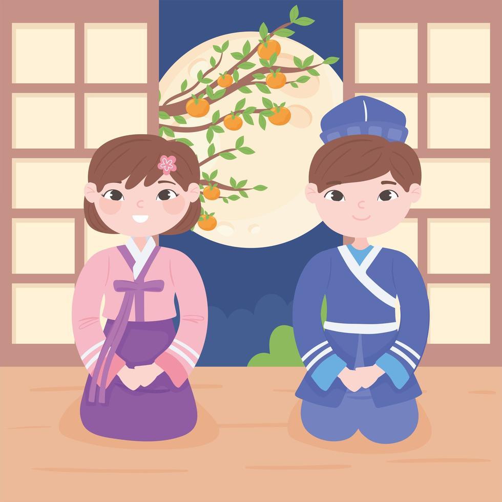 crianças coreanas em roupas tradicionais vetor