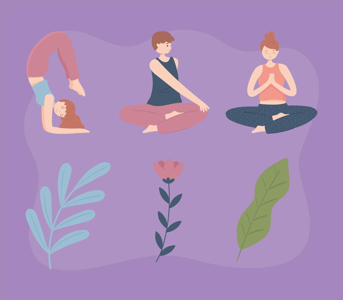 pessoas fazendo ioga vetor