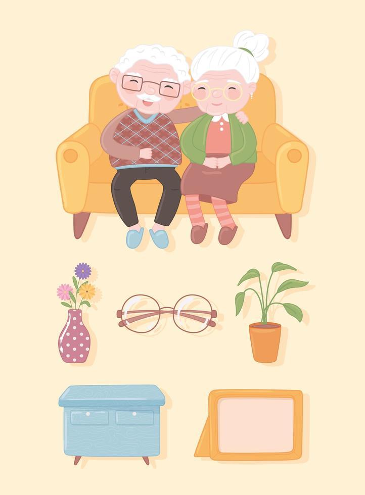 ícones de casal de velhos vetor