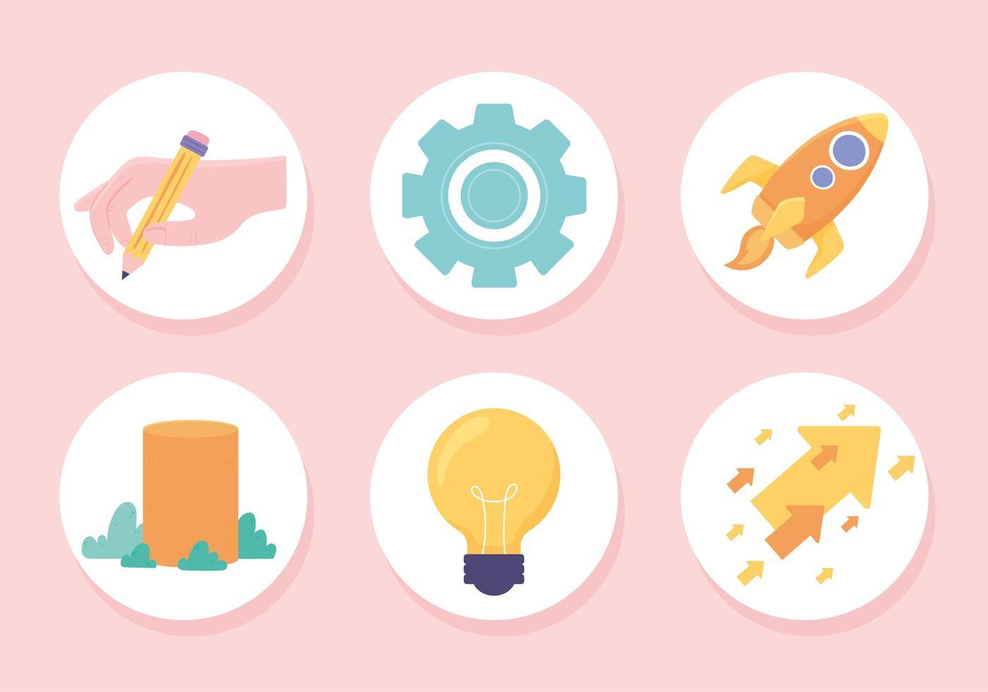 conjunto de ícones de sucesso de progresso vetor