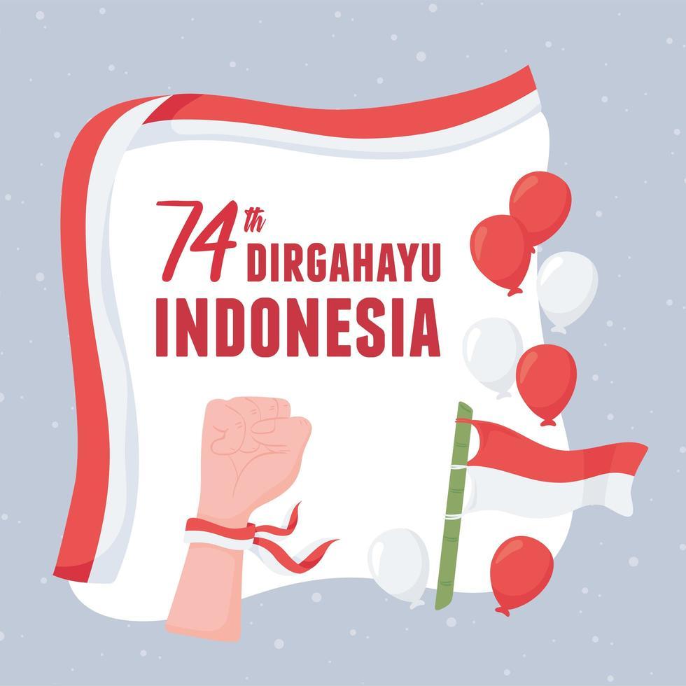 celebração da independência da indonésia vetor