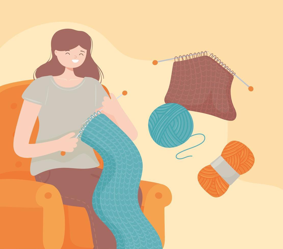 mulher tricotando bolas de lã vetor