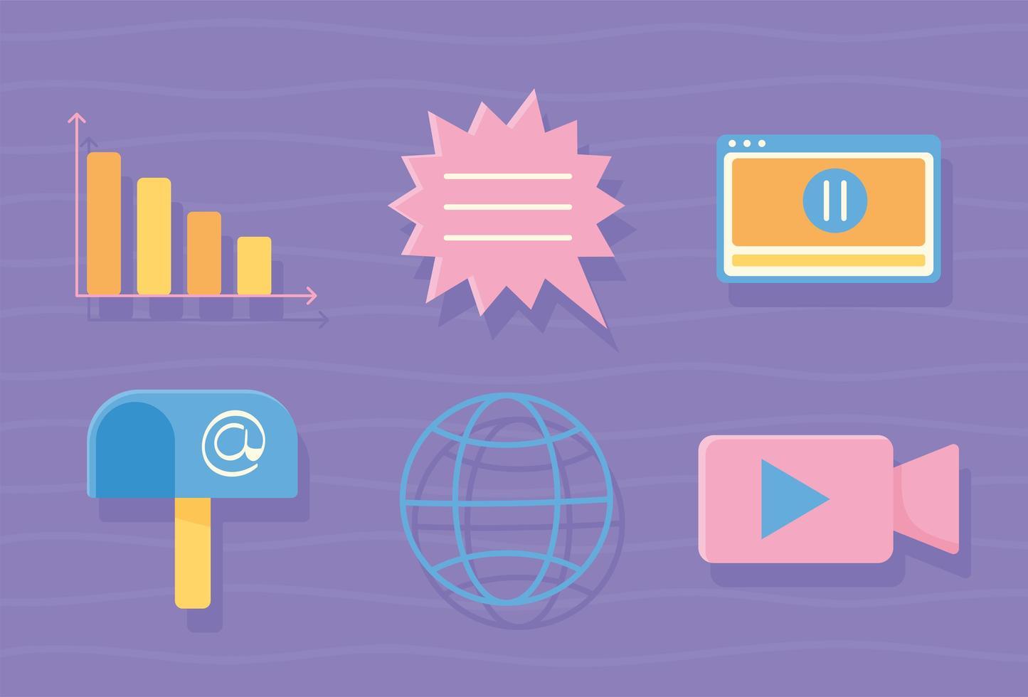 conjunto de ícones de atividades digitais vetor