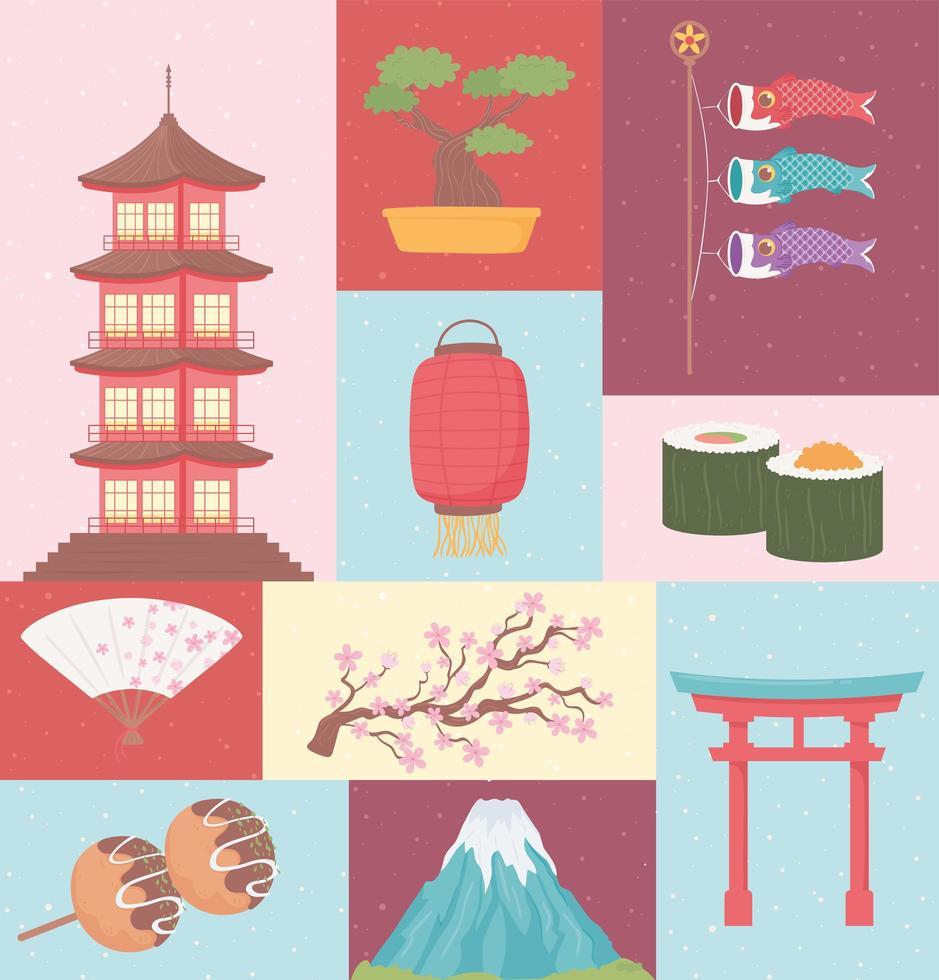 conjunto de cultura do japão vetor