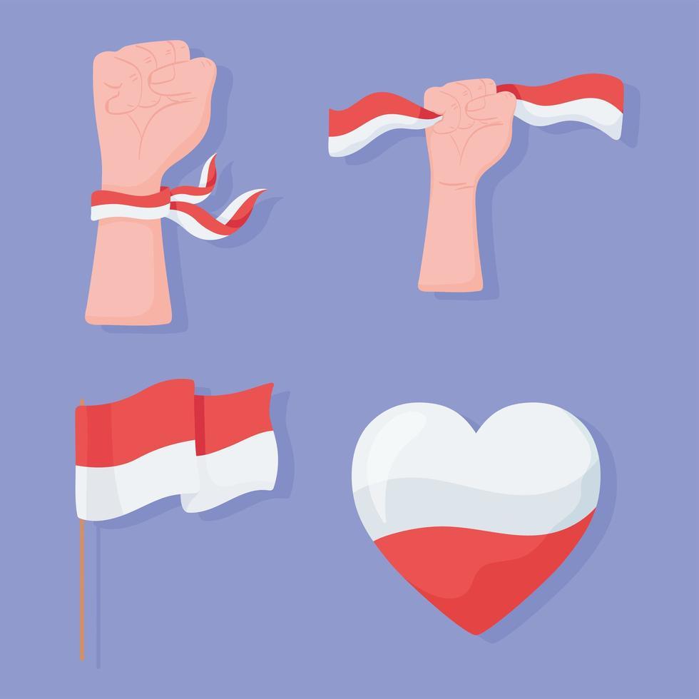 conjunto de bandeira da indonésia vetor