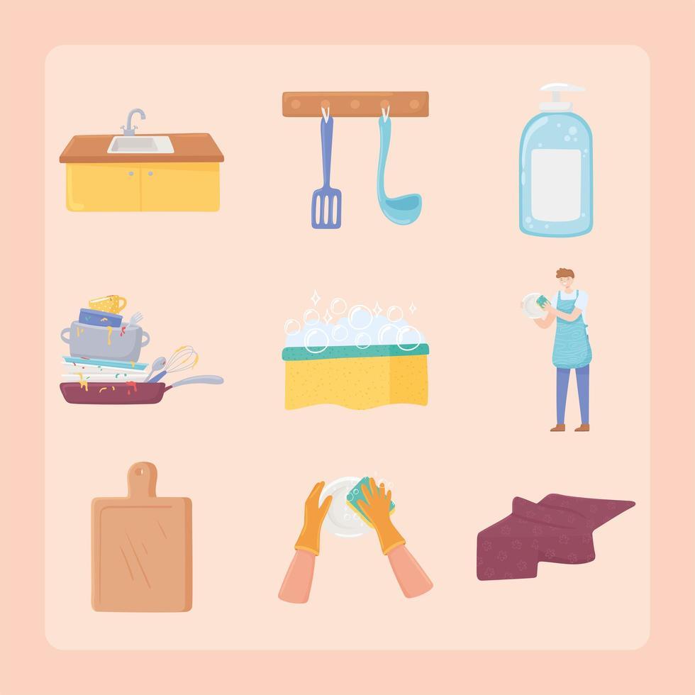 conjunto de lavar pratos vetor