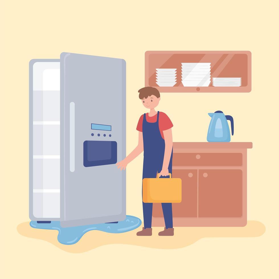 homem consertando geladeira doméstica vetor