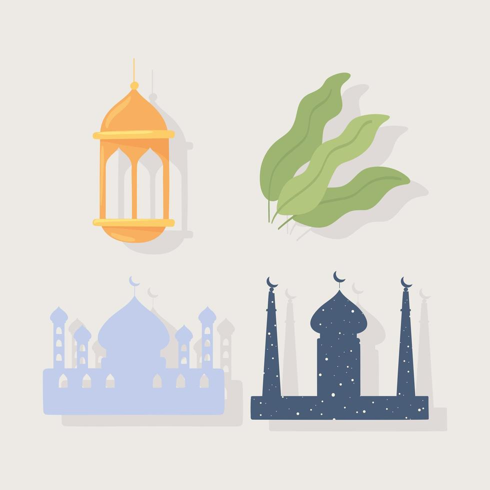 templo muçulmano e lanterna vetor
