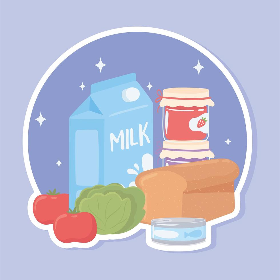 desenho animado de comida de mercearia vetor
