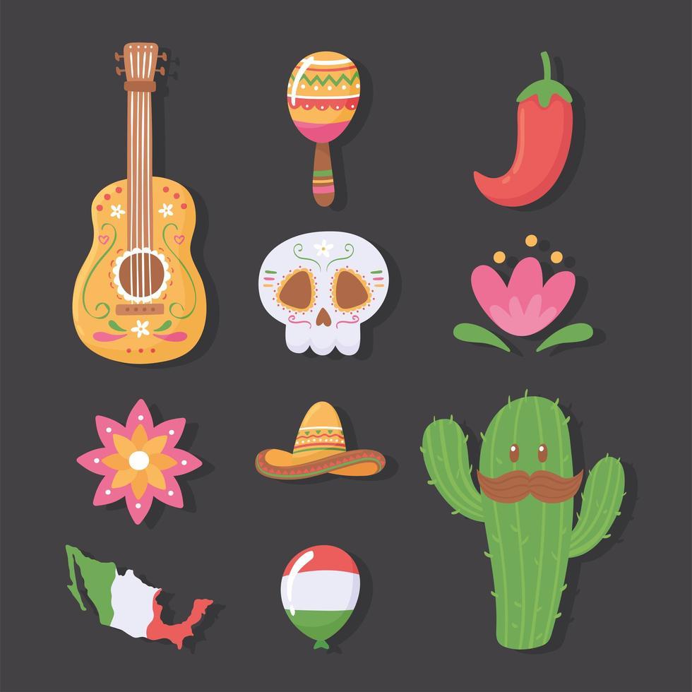 conjunto tradicional mexicano vetor