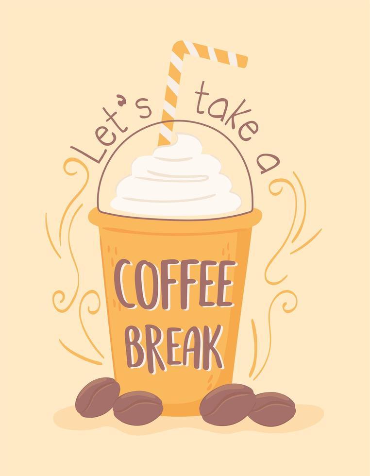 bebida gelada na pausa para o café vetor