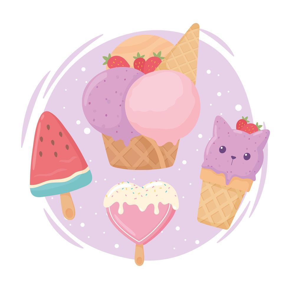 sobremesa de sorvete vetor