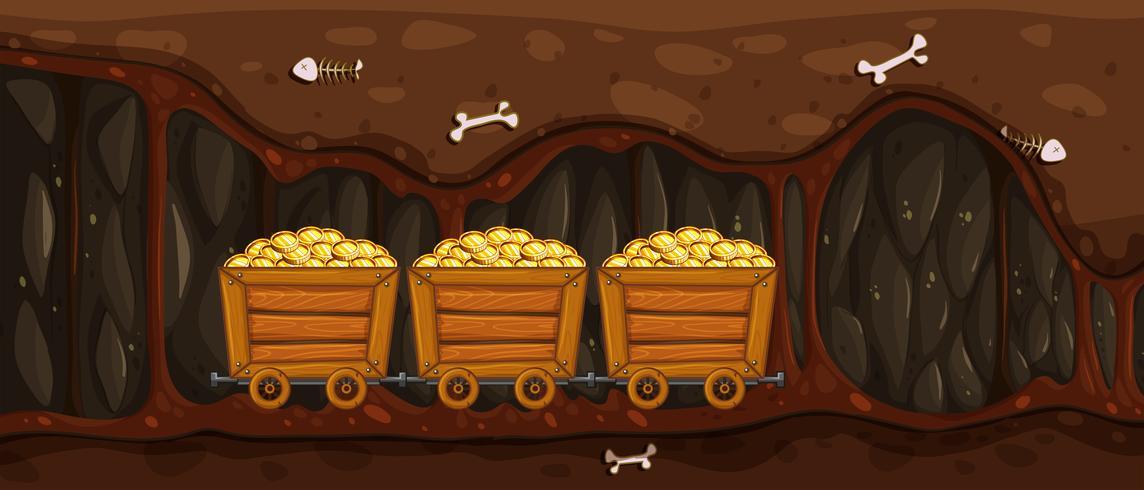 Carrinho de Mineração Cheia de Ouro vetor