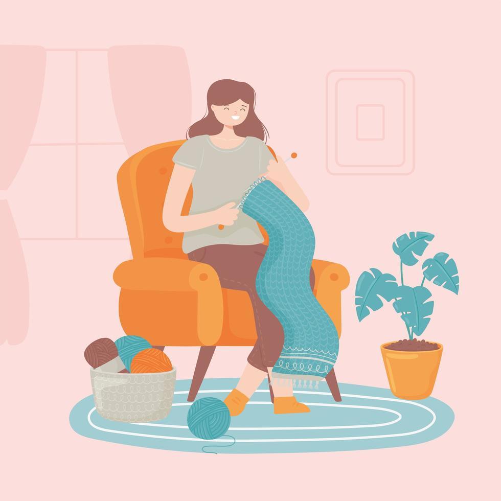 mulher fazendo lenço vetor
