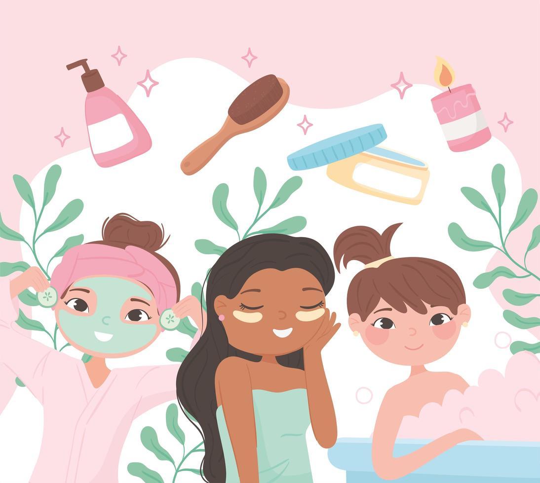 tratamentos de beleza femininos vetor