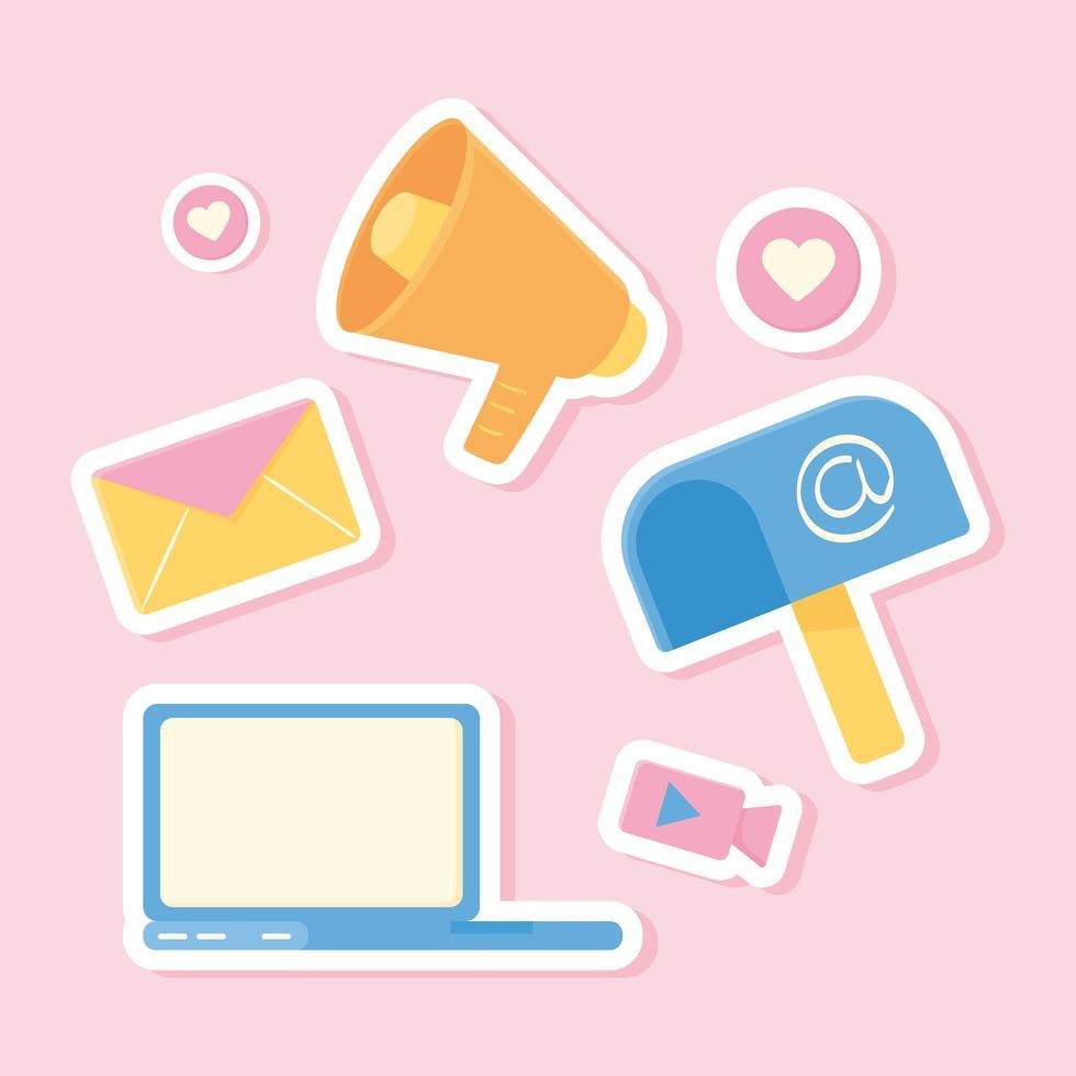 conjunto de laptop e e-mail vetor