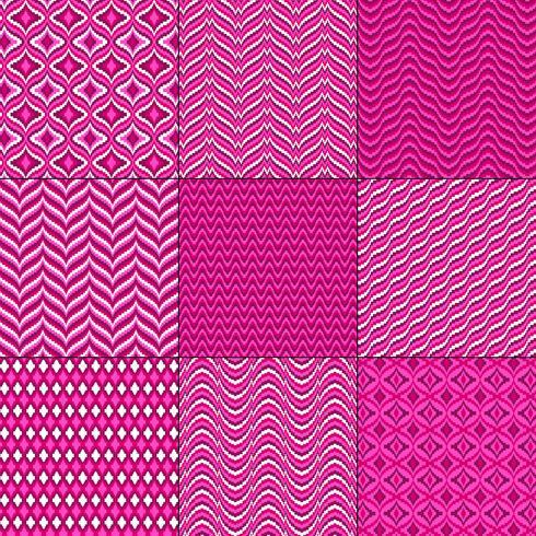 padrões geométricos rosa vermelho mod bargello vetor
