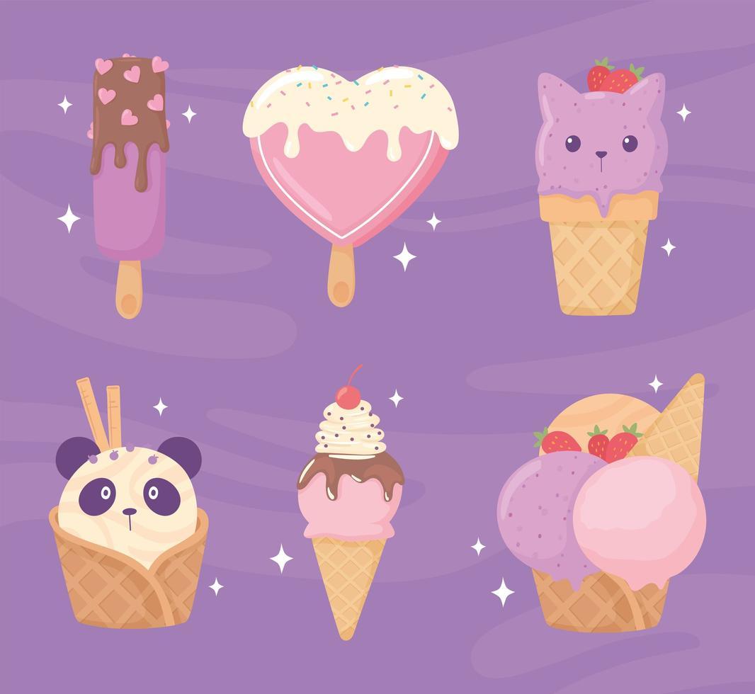 conjunto de sorvete fofo vetor