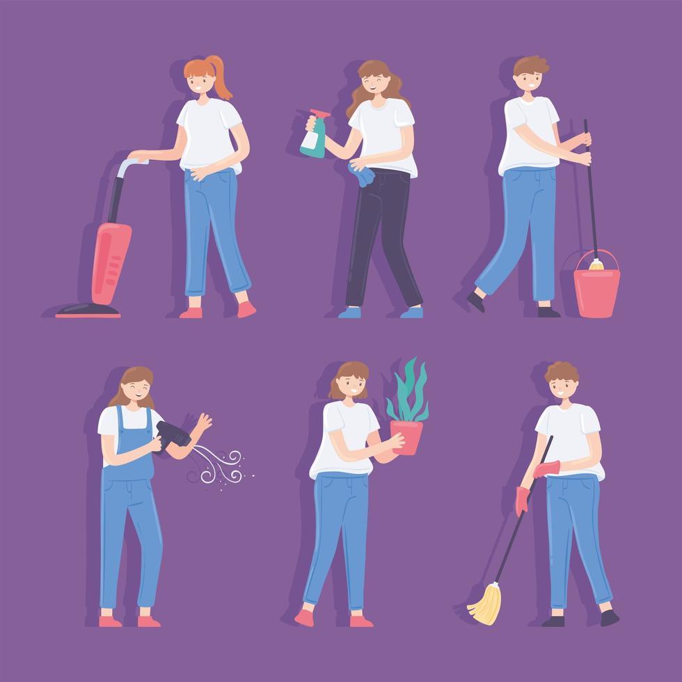 conjunto de limpeza de mulher e homem vetor
