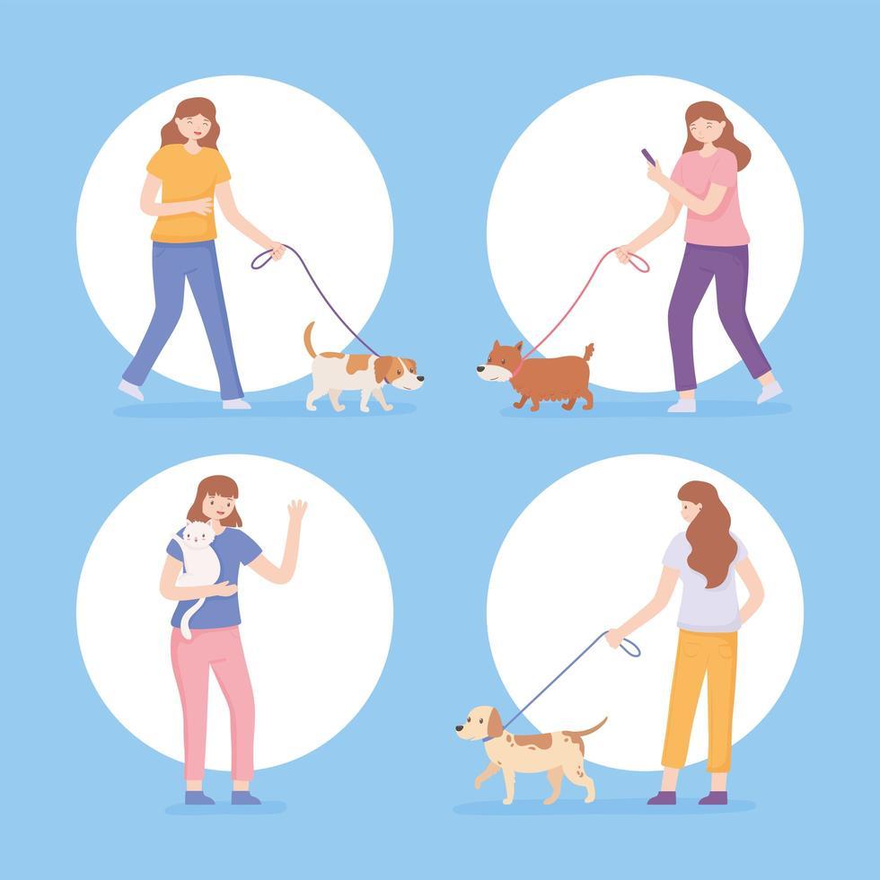 conjunto de ícones mulheres com animais de estimação vetor