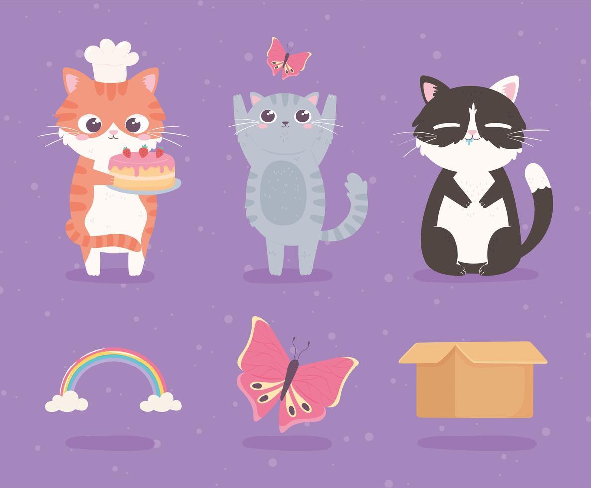 desenhos animados gatinhos fofos vetor