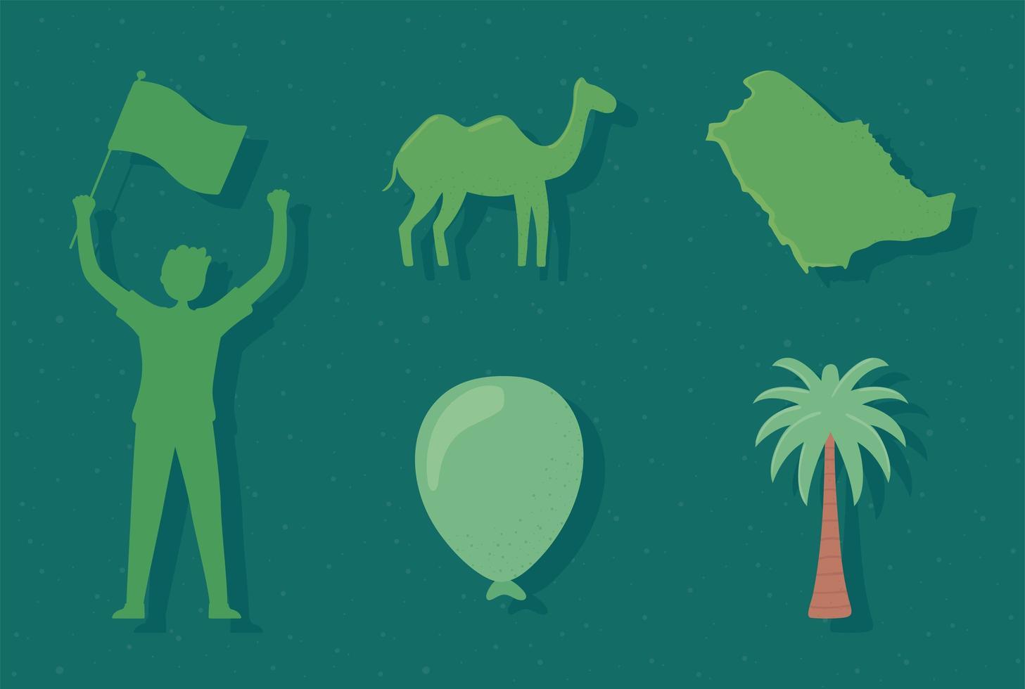 silhueta verde arábia saudita vetor