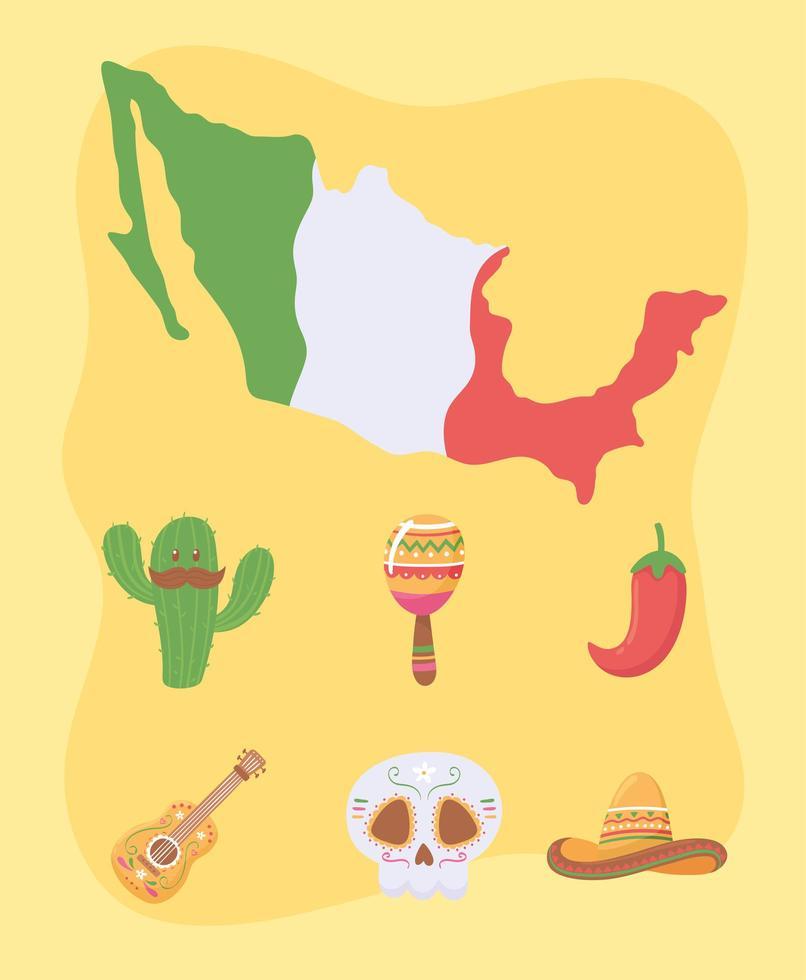 conjunto de ícones do viva mexicano vetor