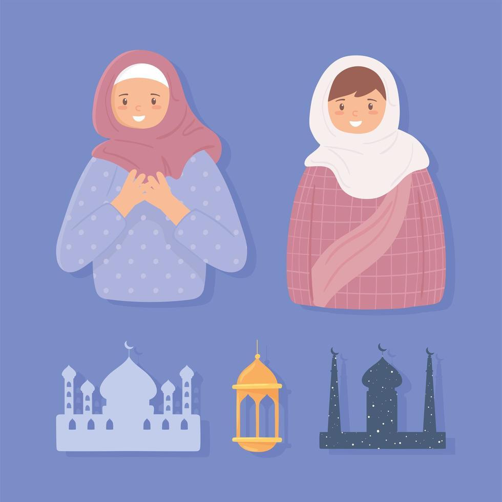 definir mulheres muçulmanas e templo vetor